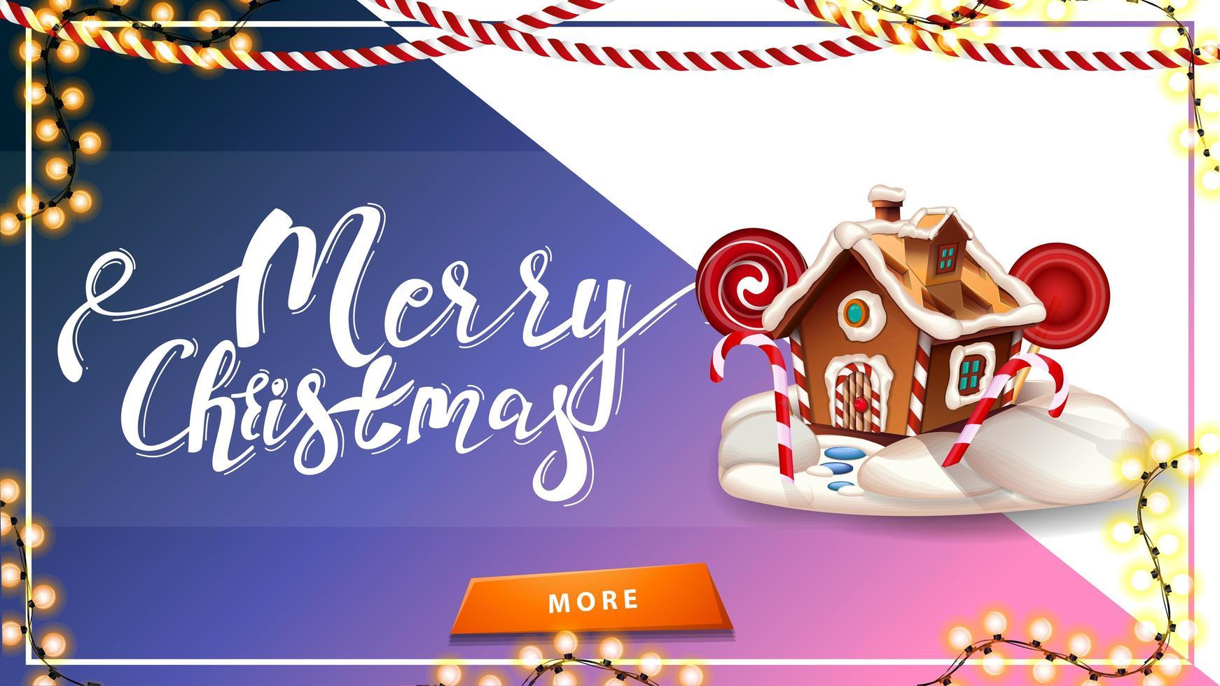 Feliz Natal, cartão postal para site com lindas letras, guirlandas, casa de pão de gengibre de Natal e botão vetor
