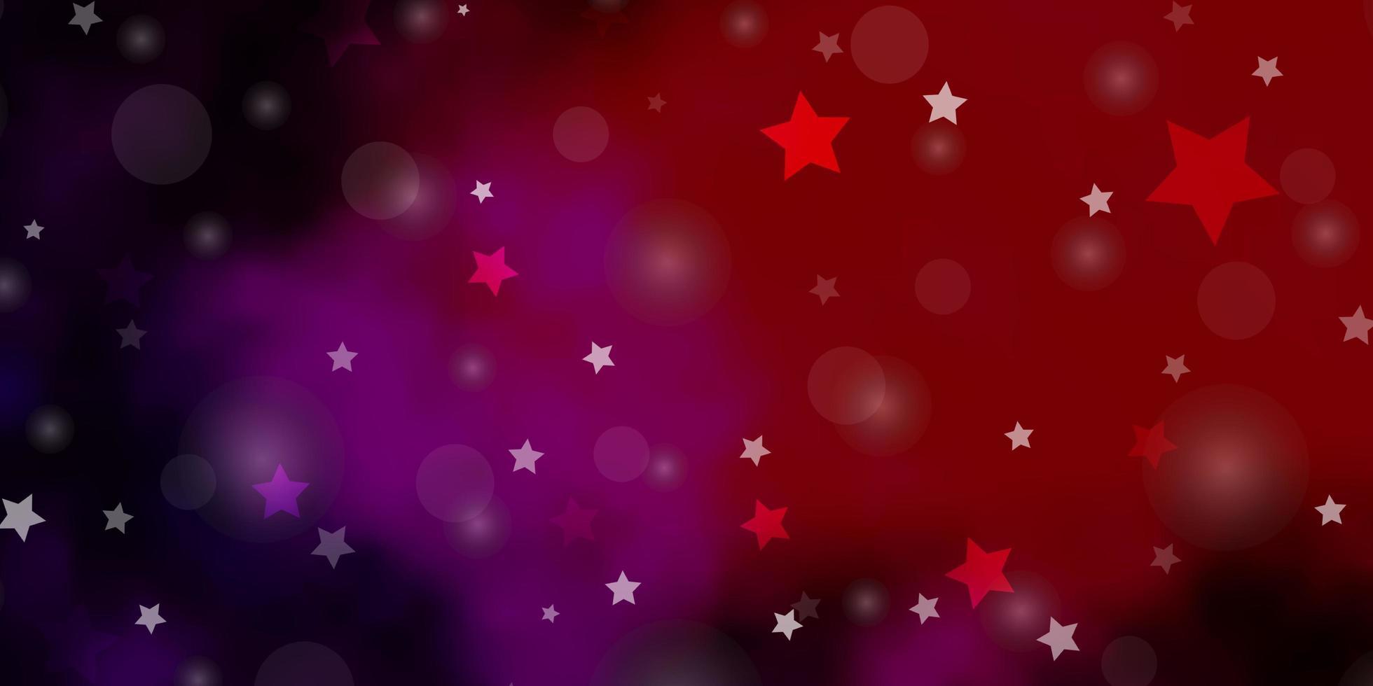 layout de vetor rosa escuro, vermelho com círculos, estrelas.