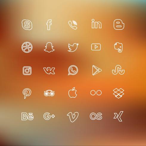 Alinhado ícone de mídia social vetor
