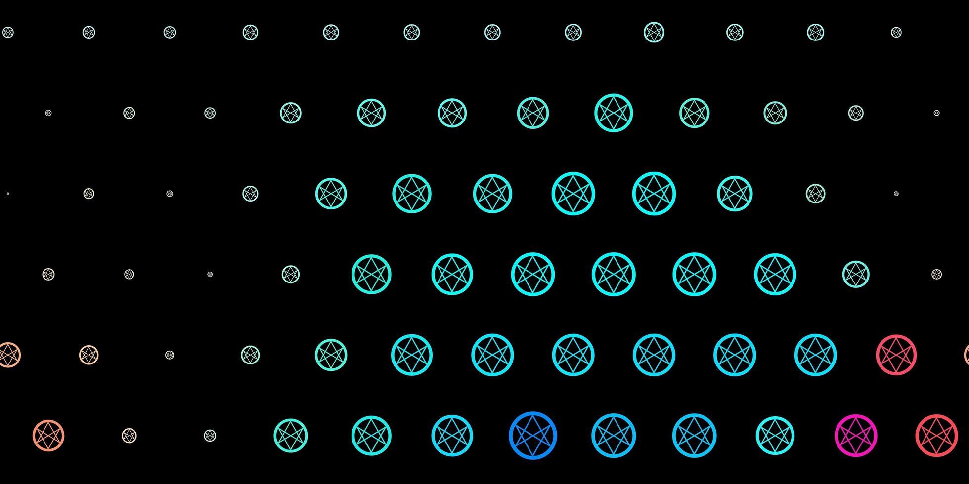 modelo de vetor azul e vermelho escuro com sinais esotéricos.