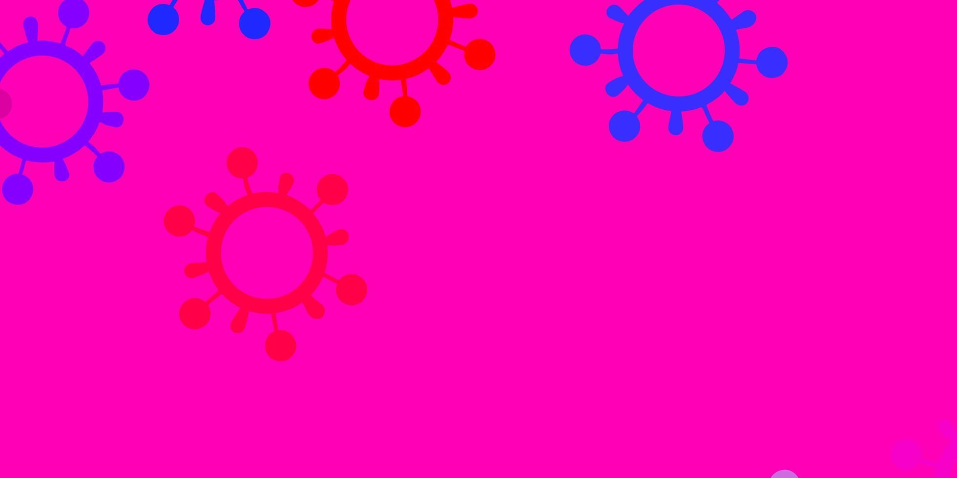 fundo vector azul e vermelho claro com símbolos covid-19.