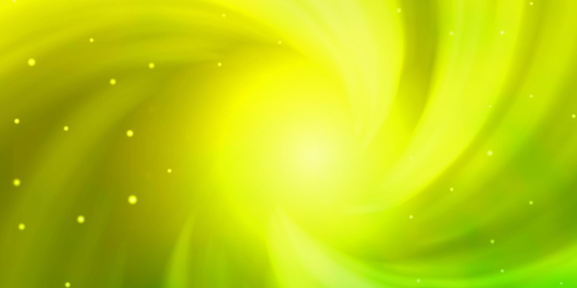 layout de vetor verde e amarelo claro com estrelas brilhantes.