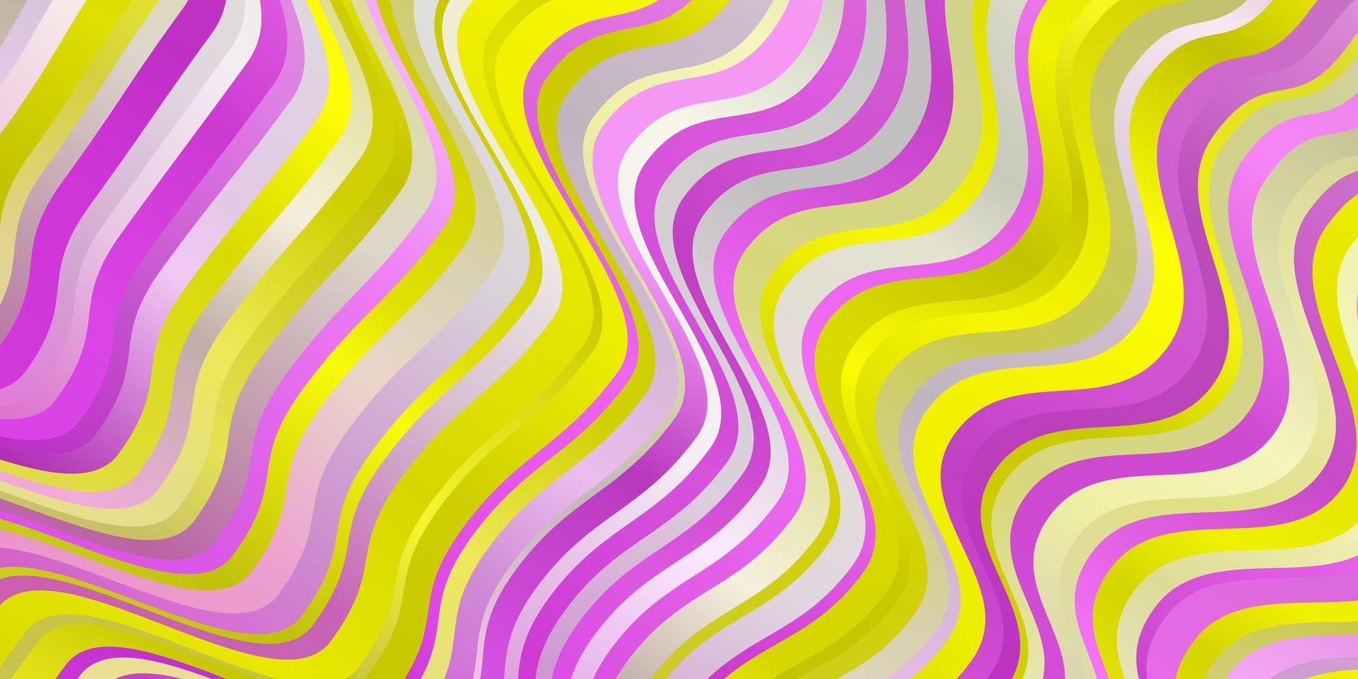padrão de vetor rosa claro, amarelo com curvas.