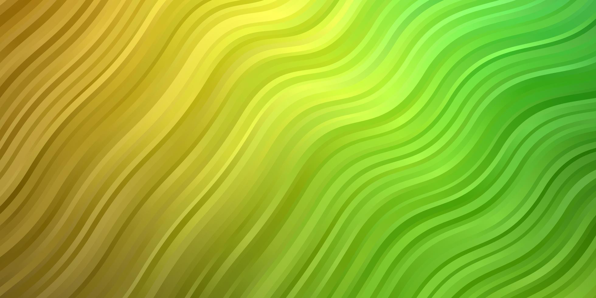 pano de fundo de vetor verde e amarelo claro com curvas.