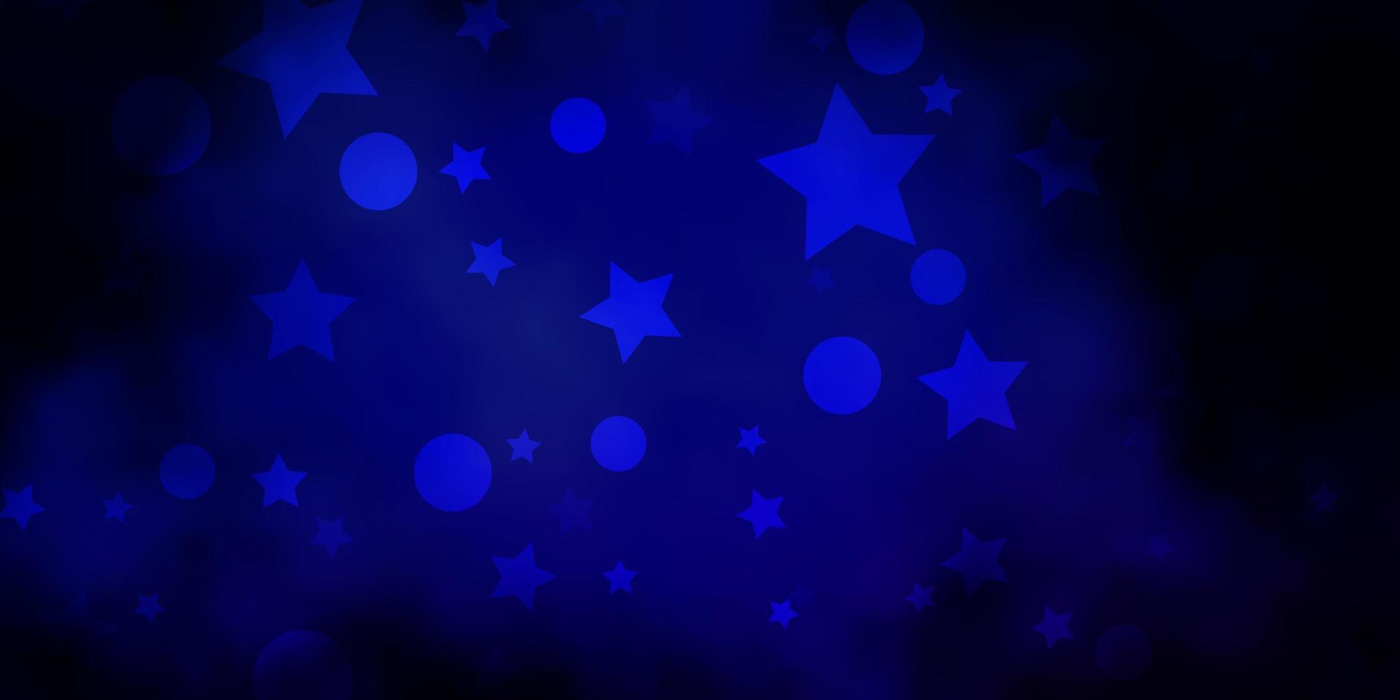 padrão de vetor azul escuro com círculos, estrelas.