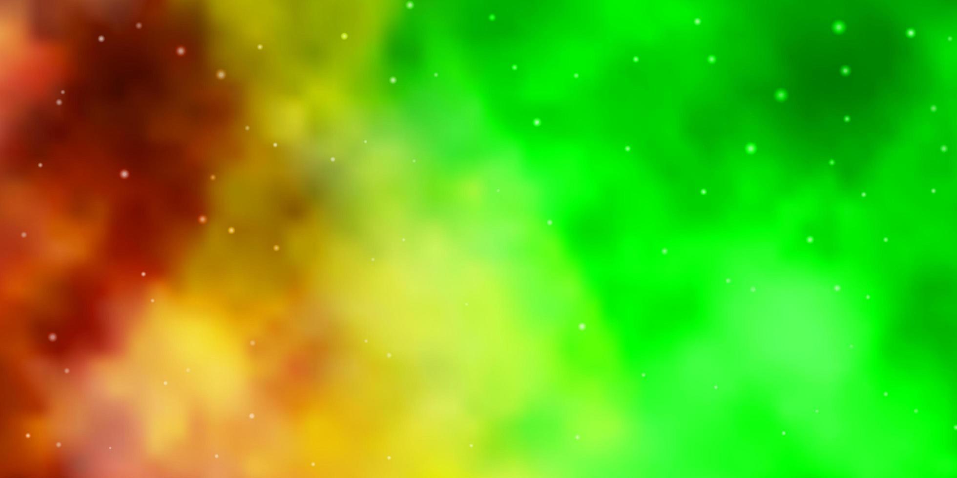 textura de vetor verde e amarelo claro com belas estrelas.