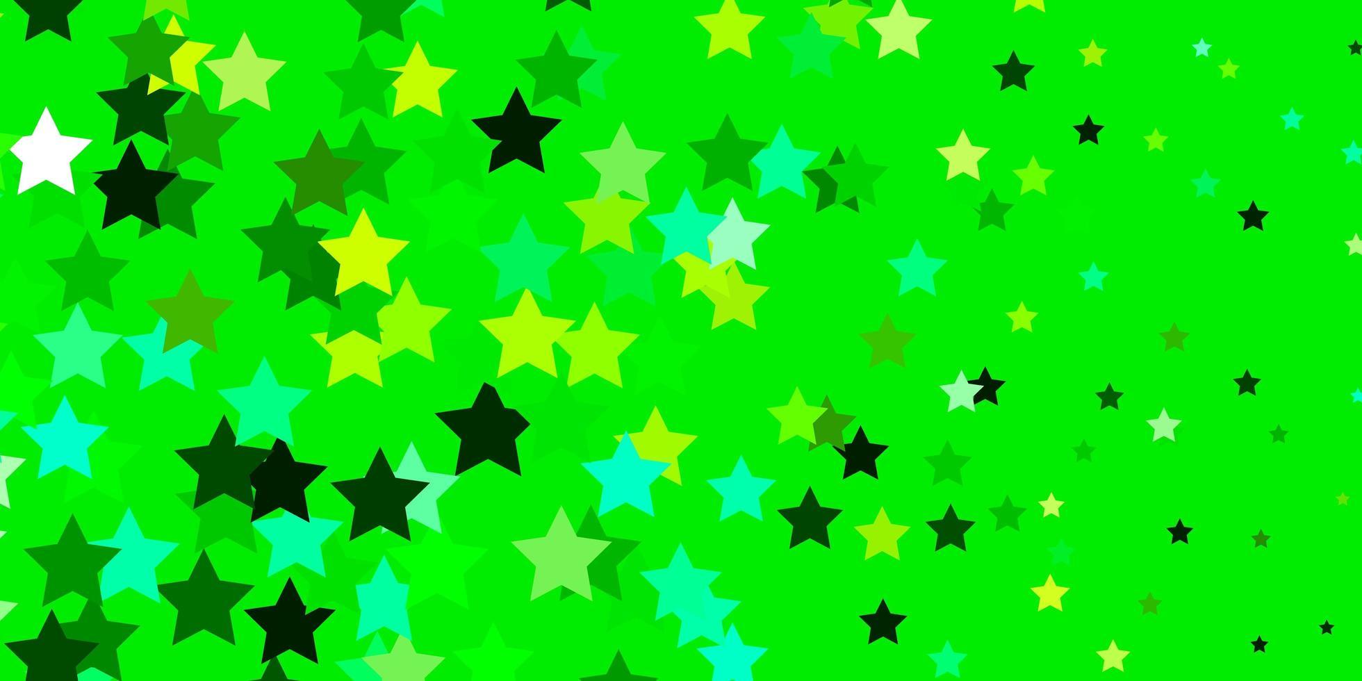 padrão de vetor verde claro com estrelas abstratas.