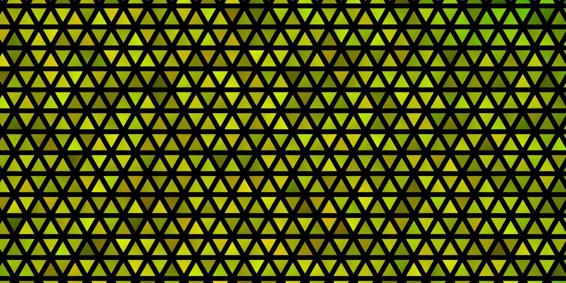 modelo de vetor verde e amarelo claro com cristais, triângulos.
