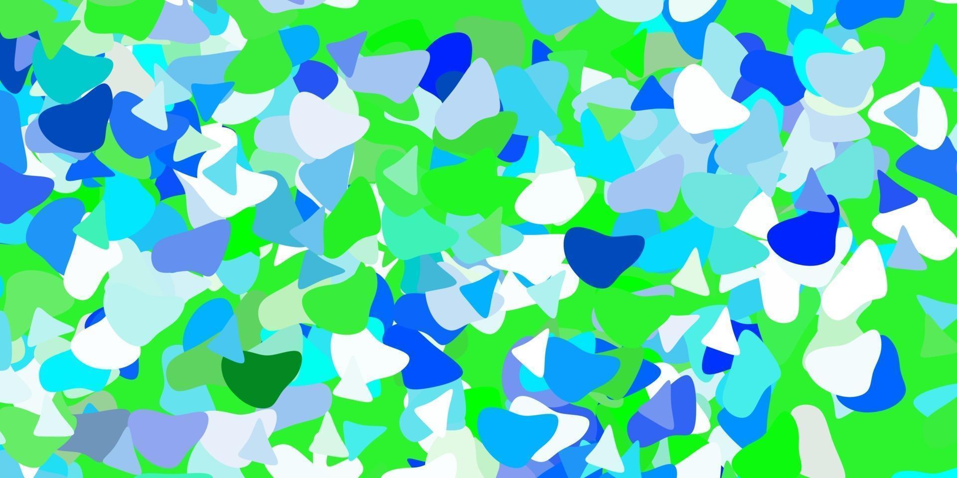 textura vector azul claro e verde com formas de memphis.