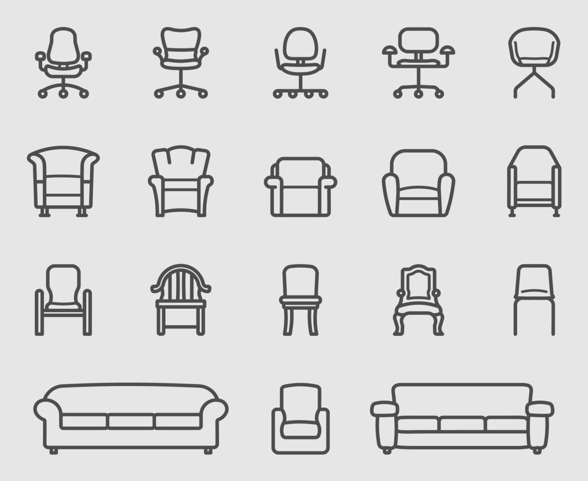 conjunto de ícones de linha de cadeira e sofá vetor