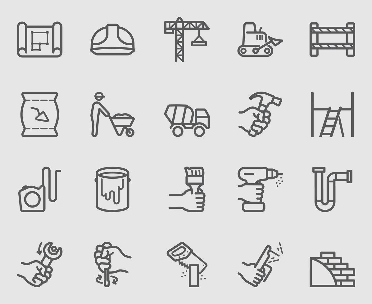 conjunto de ícones de linha de trabalho de construção vetor