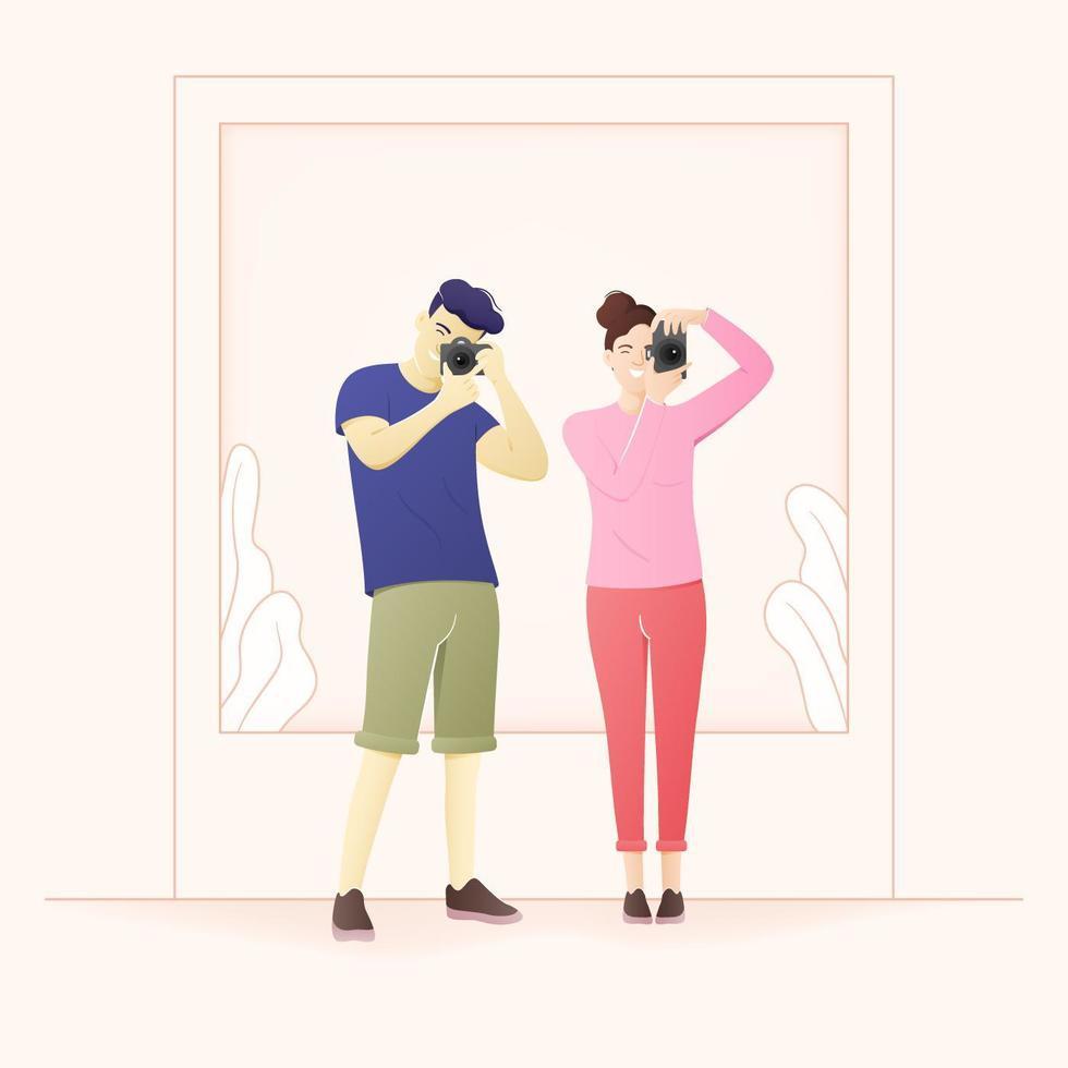 jovens turistas tirando uma foto, vetor de personagem plana dos desenhos animados.