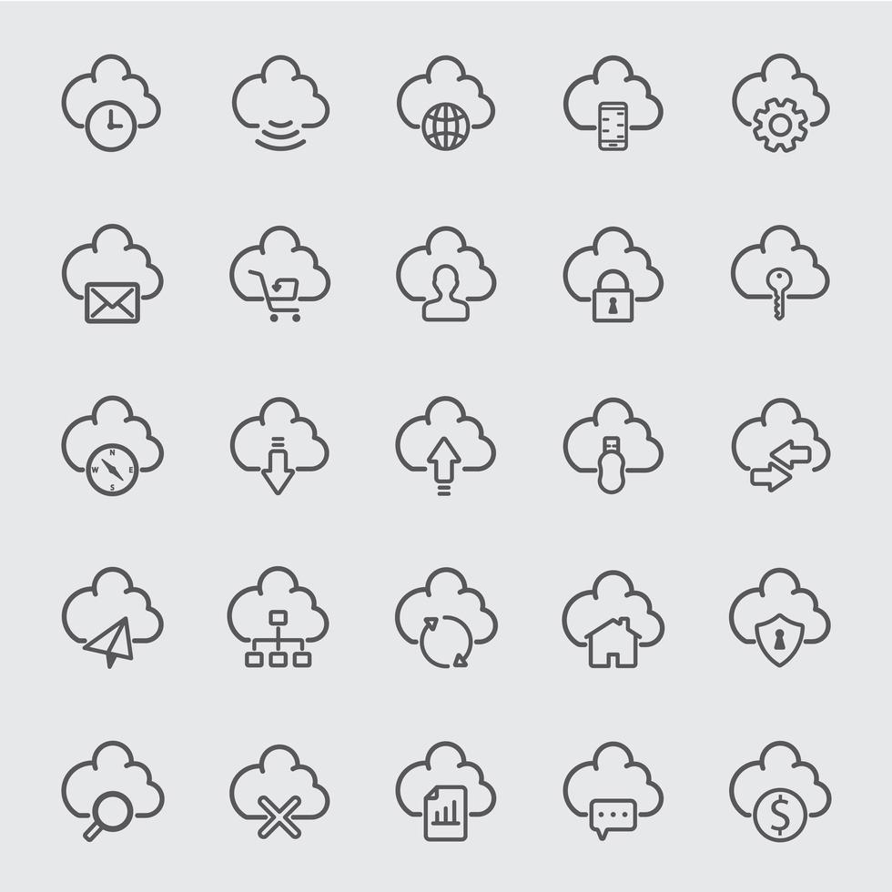 conjunto de ícones de linha de nuvem vetor