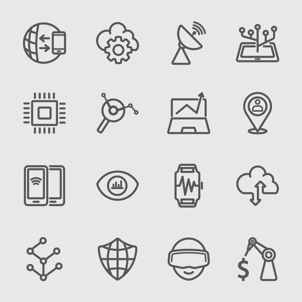 conjunto de ícones de linha de tecnologia de negócios vetor