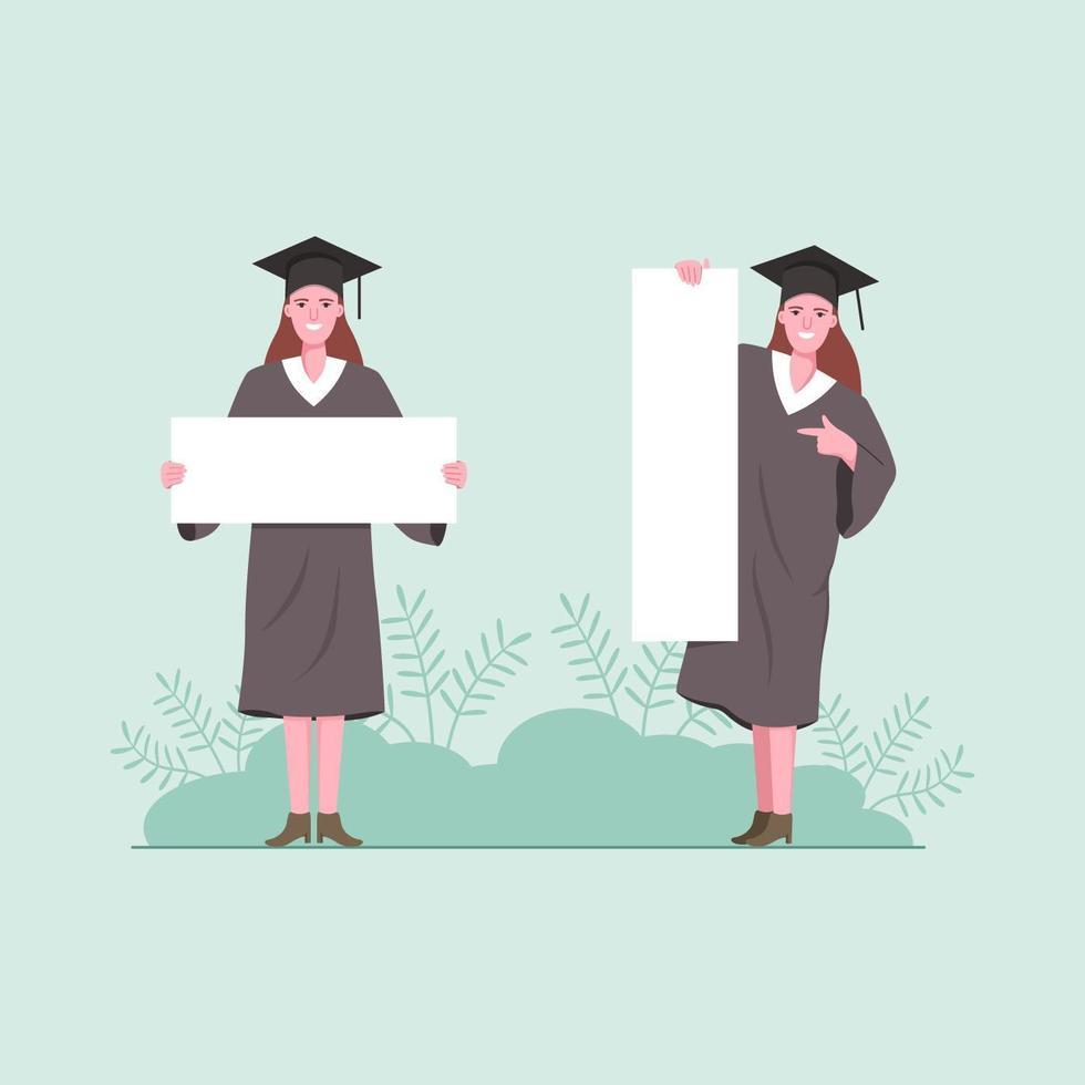 estudantes de pós-graduação de mulher segurando uma placa em branco. vetor