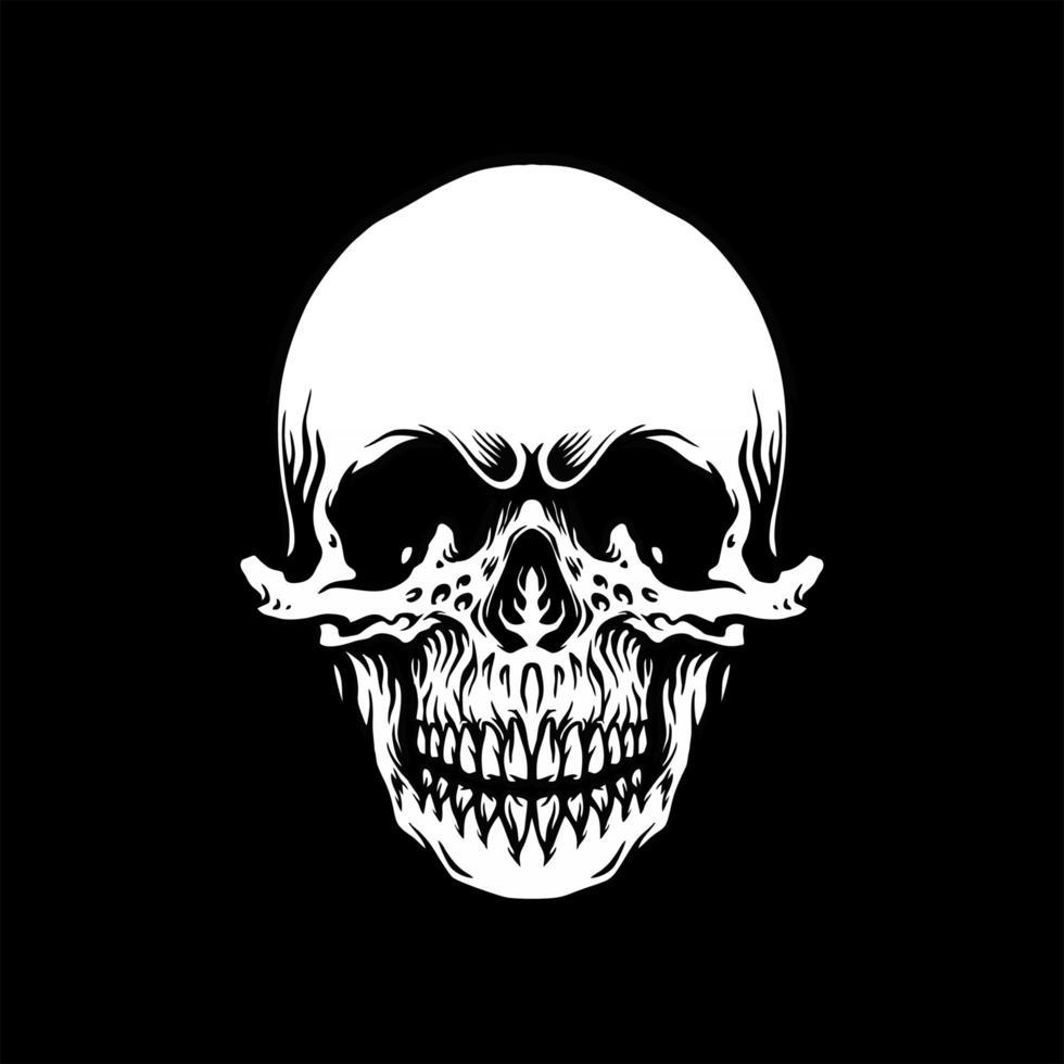 emblema vintage caveira monocromática vetor