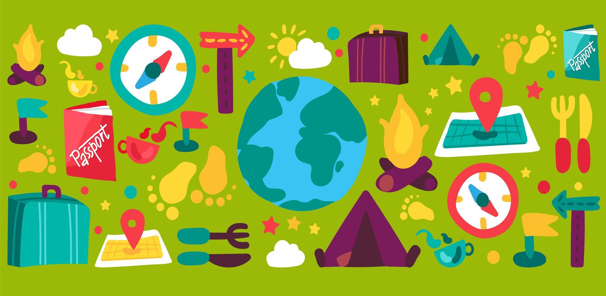 turismo e viagens conjunto de ilustrações desenhadas à mão vetor