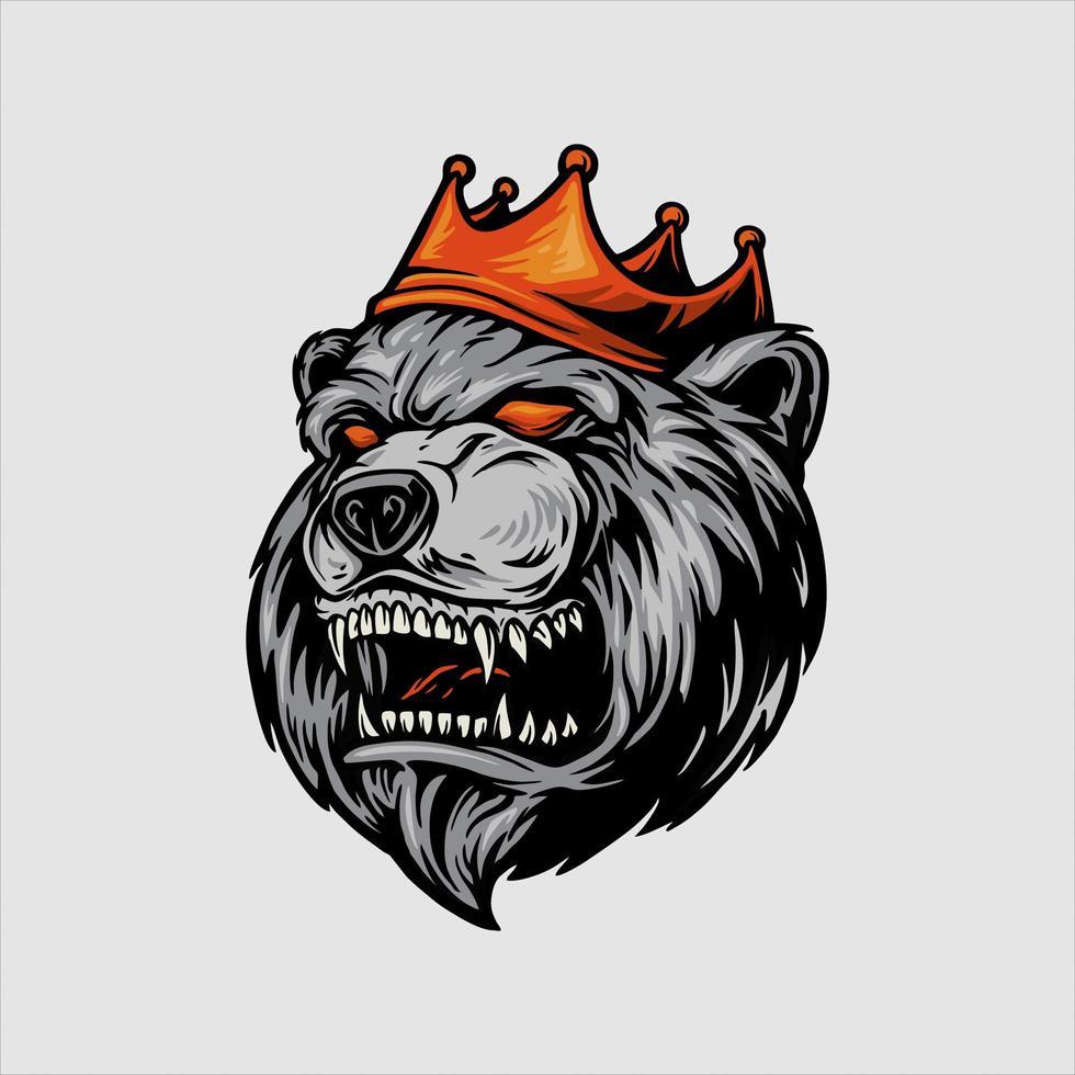urso zangado com mascote de coroa vermelha vetor