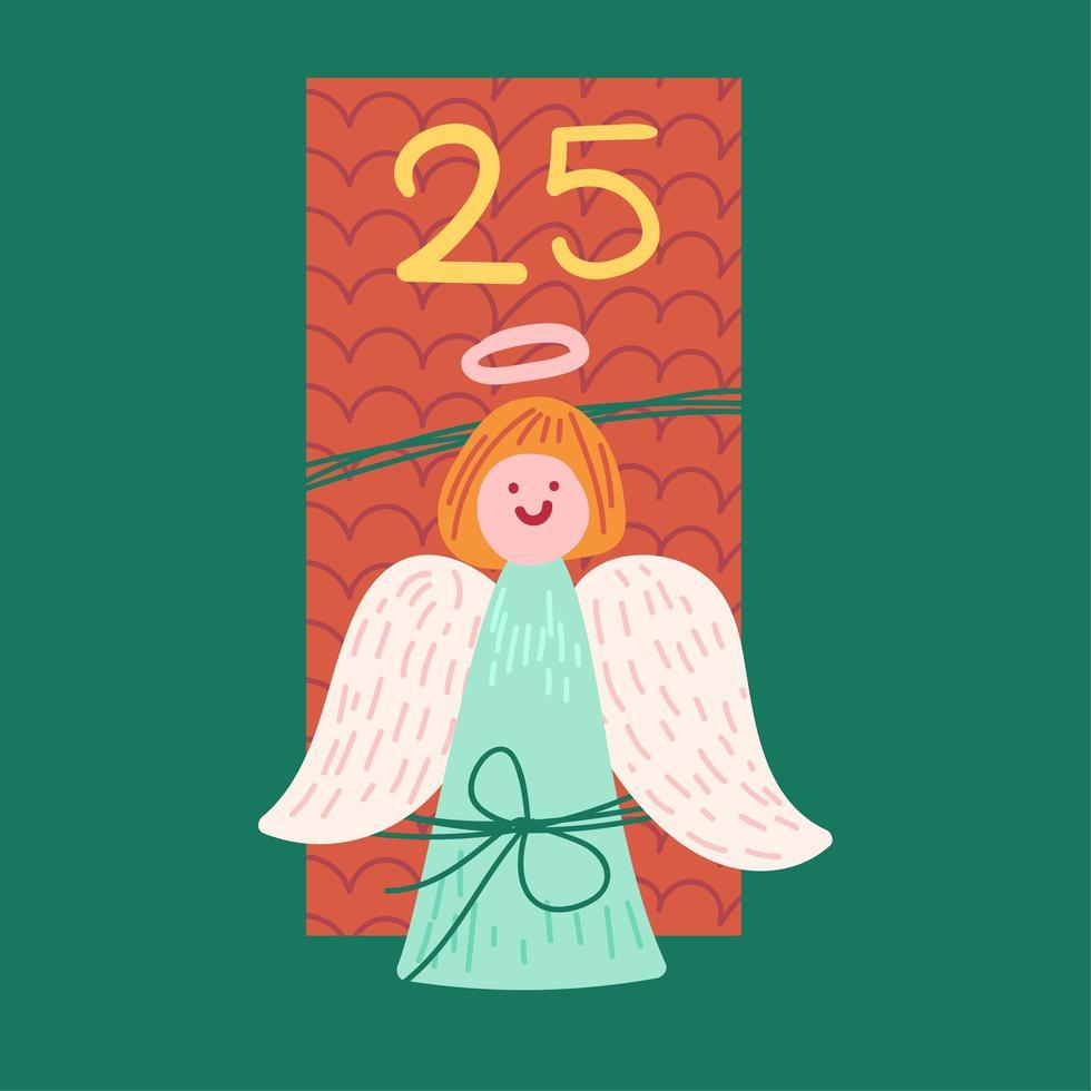 presente de natal com ilustração vetorial plana de anjo vetor
