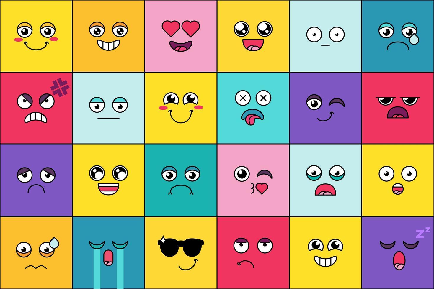 emoticon, conjunto de sorrisos fofos vetor
