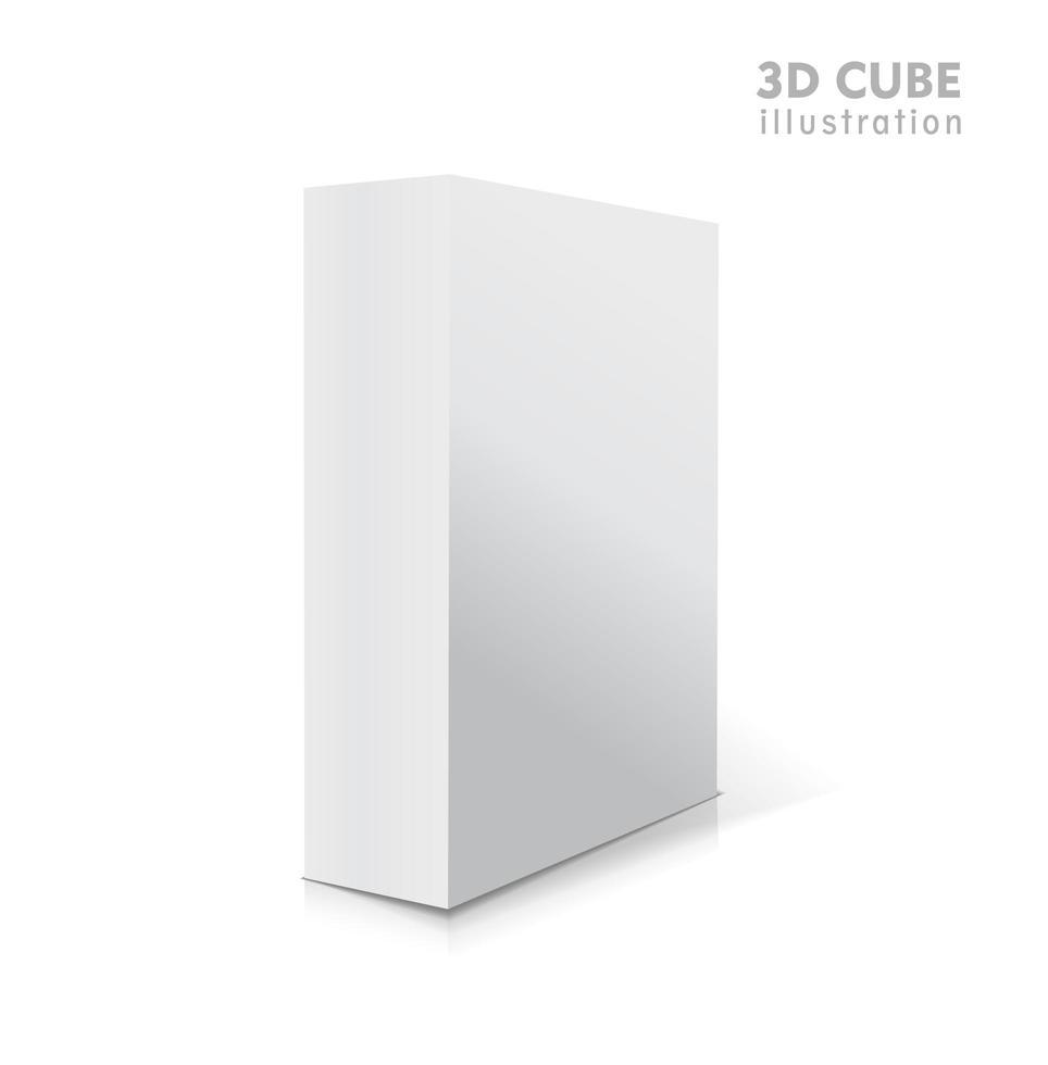 vetor branco realista abriu a ilustração da caixa 3d em branco com sombras.