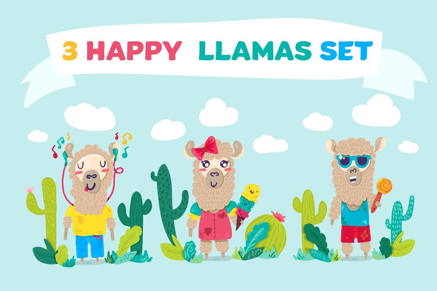 Conjunto de personagens de desenhos animados happy lhamas vetor