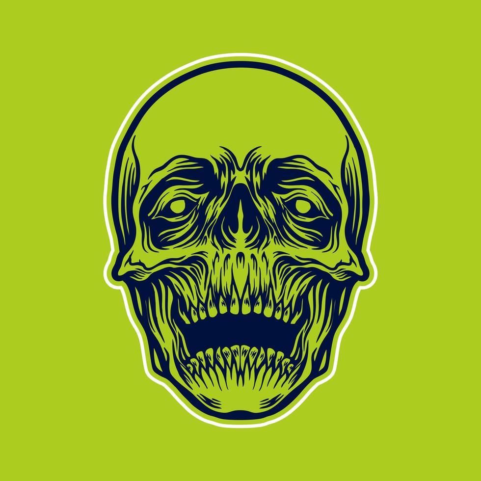 ilustração detalhada da cabeça do crânio vetor