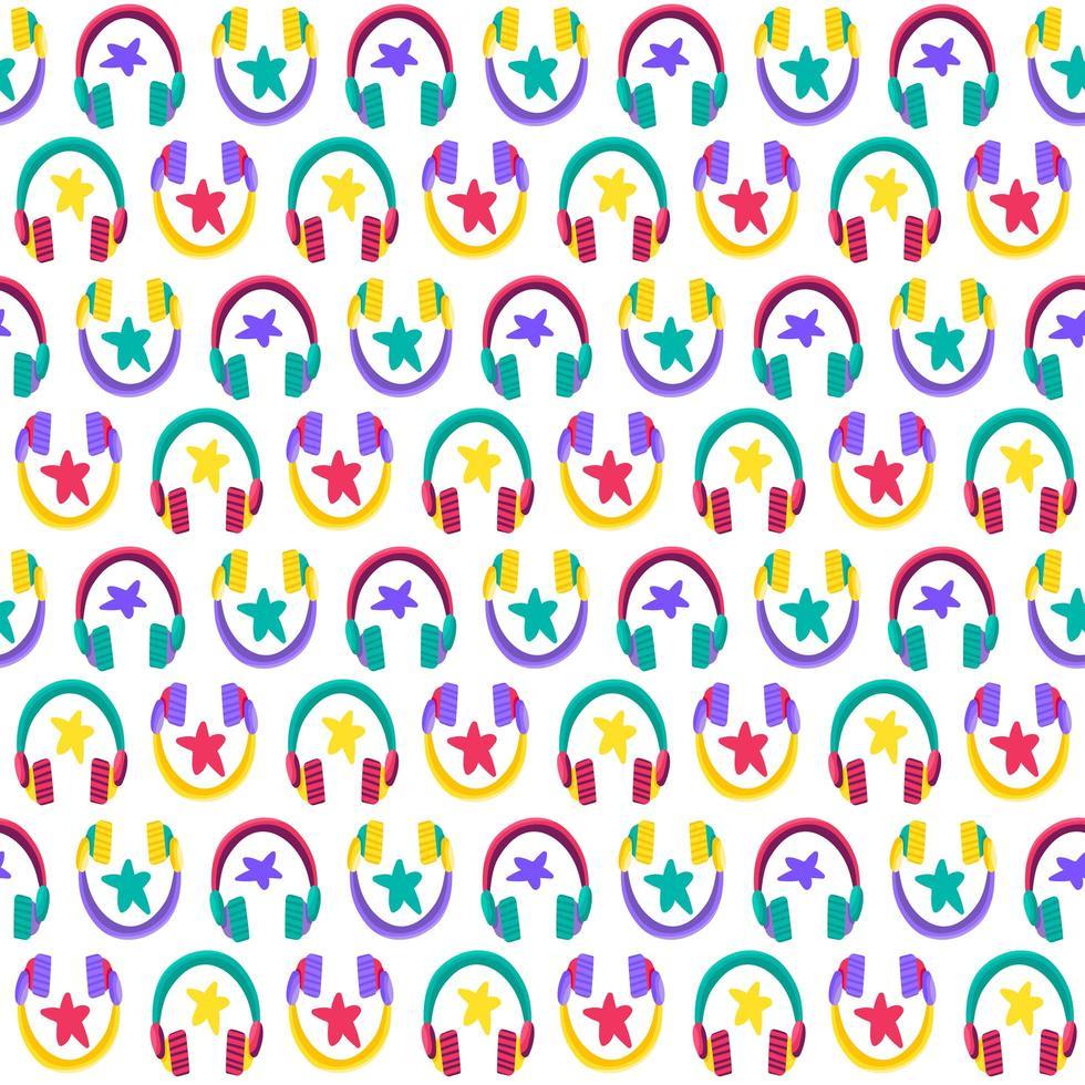 fones de ouvido plana vetor padrão sem emenda