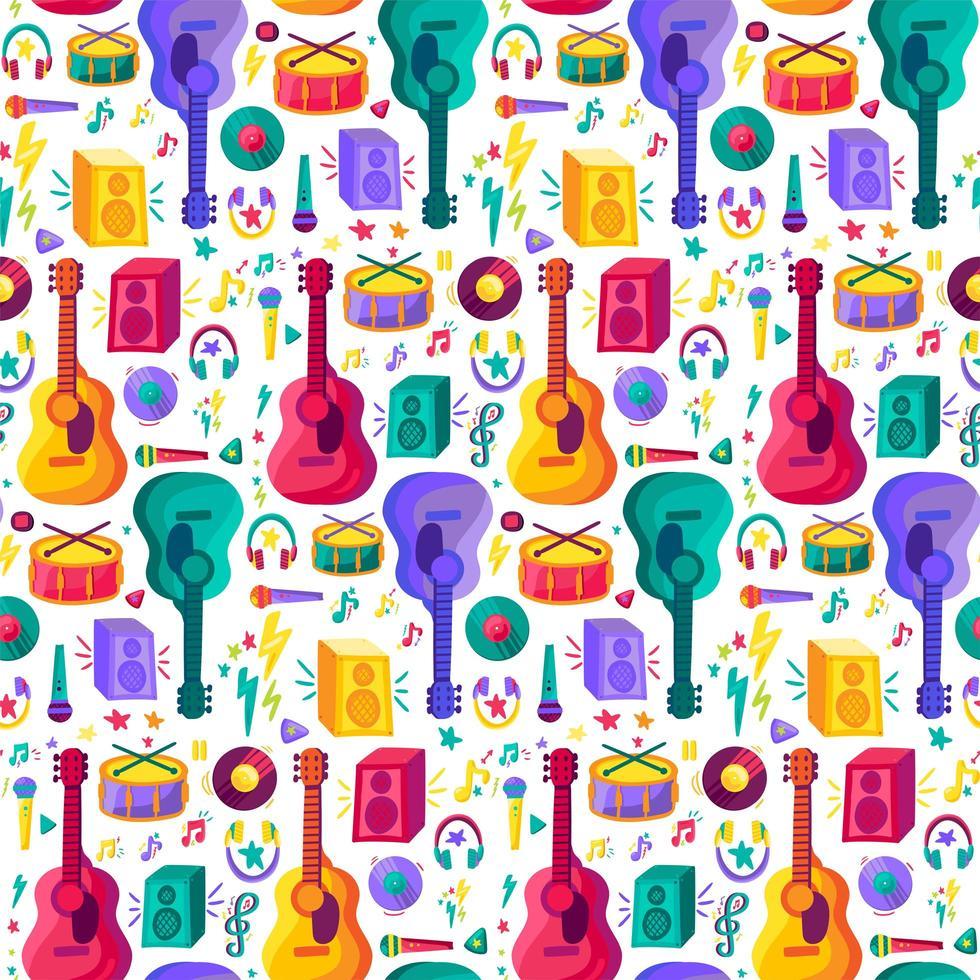padrão plano sem emenda de instrumento musical vetor