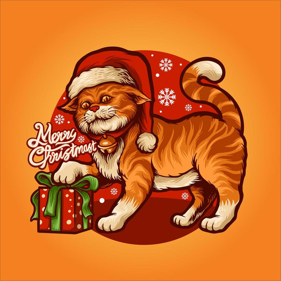 desenho animado gato fofo com ilustração vetorial de presente vetor