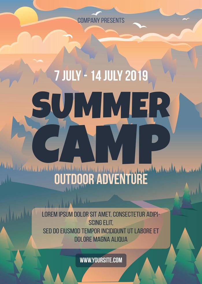 modelo de pôster acampamento de verão vetor
