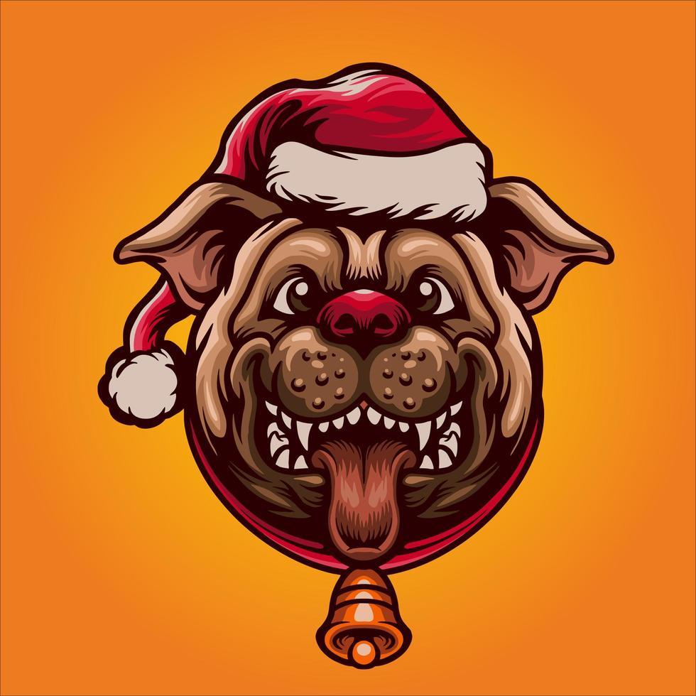 ilustração do mascote do cão natalino fofo vetor