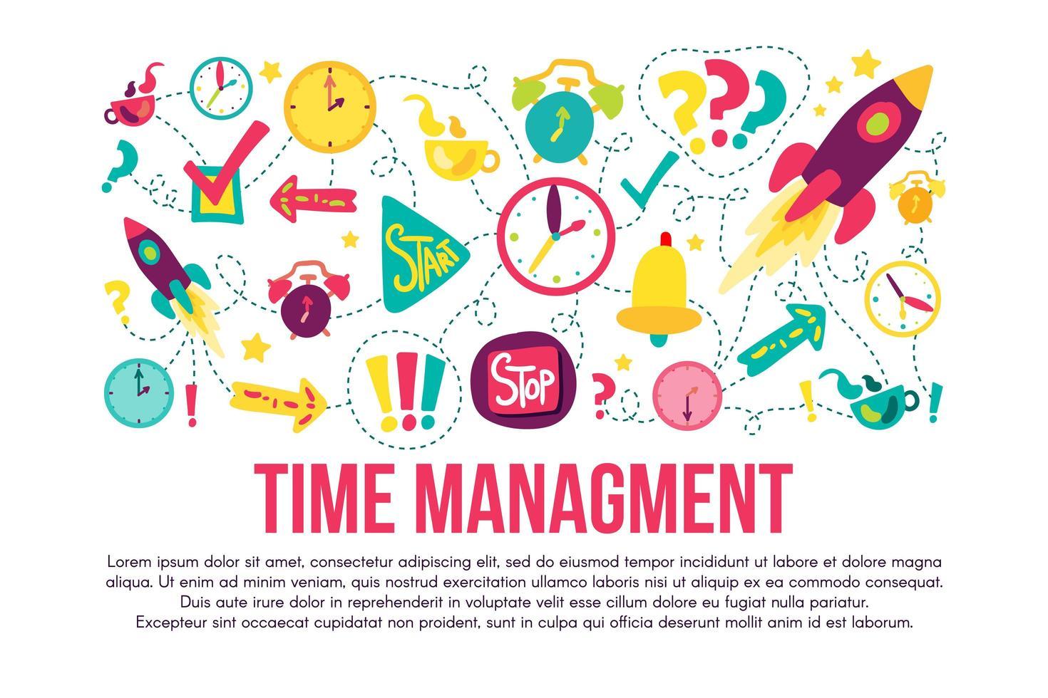 Conjunto de adesivos de gerenciamento de tempo vetor