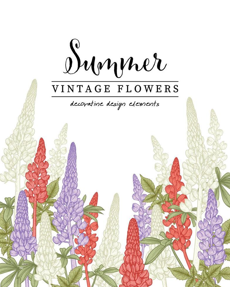 cartão de convite de desenhos de flores de tremoço vetor
