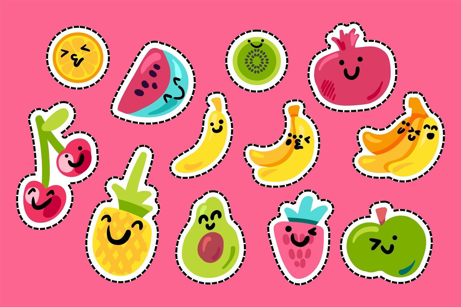 pacote kawaii de frutas tropicais vetor