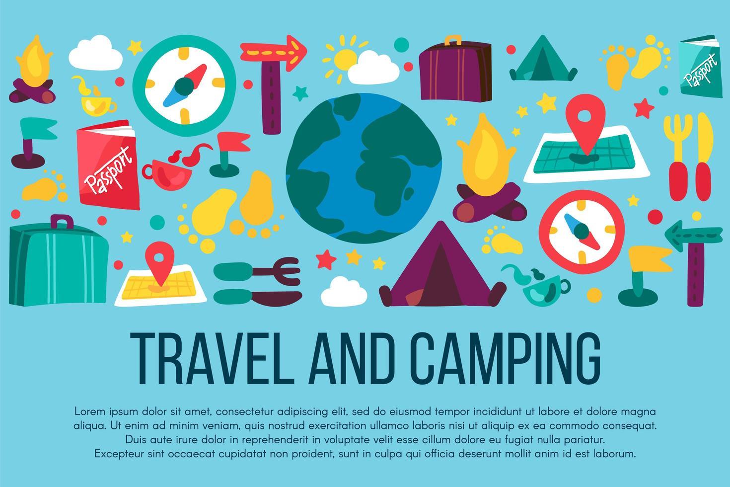 acampar e viajar banner desenhado à mão com copyspace vetor