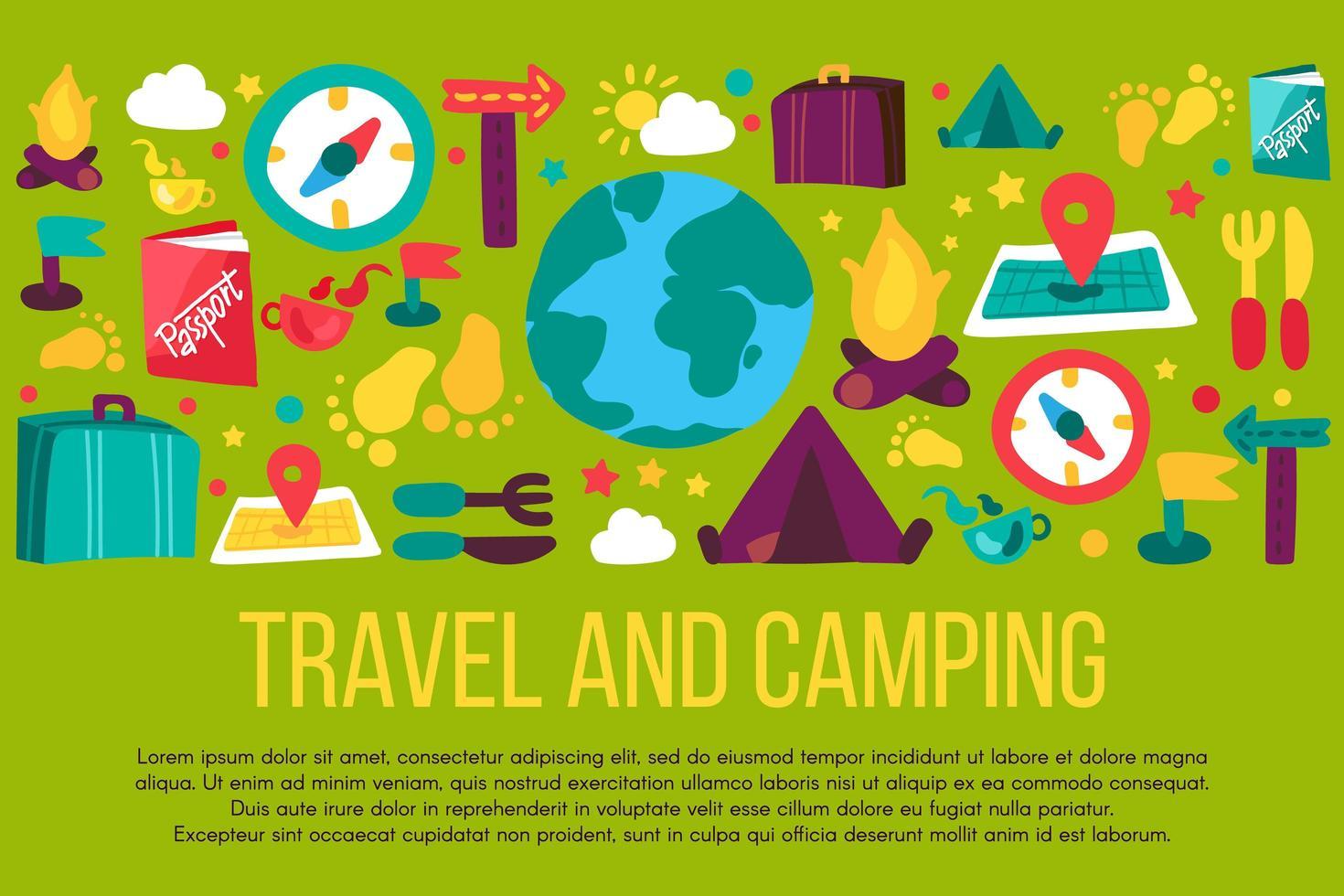 turismo e acampamento desenhado à mão banner com copyspace vetor