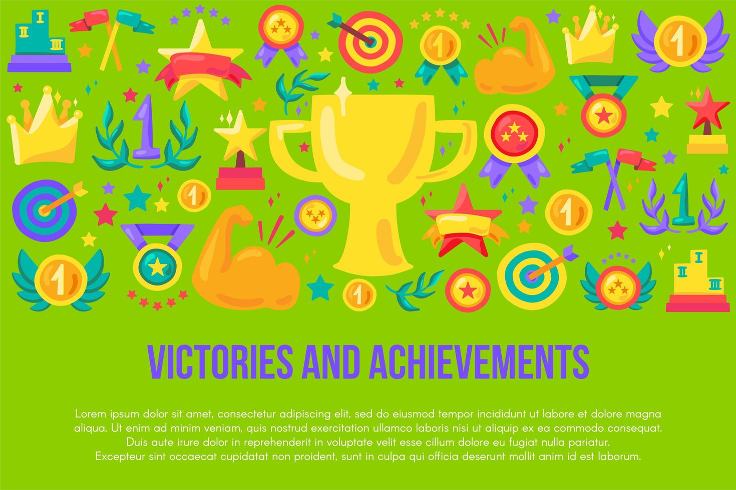 modelo de banner plano de vitórias e conquistas vetor