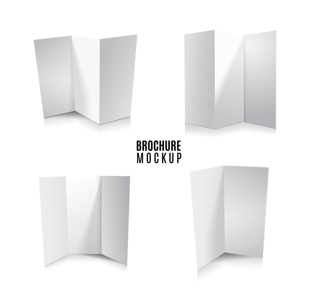 revista, livreto, cartão postal, folheto, cartão 3d de negócios ou modelo de maquete de brochura conjunto isolado no branco. vetor