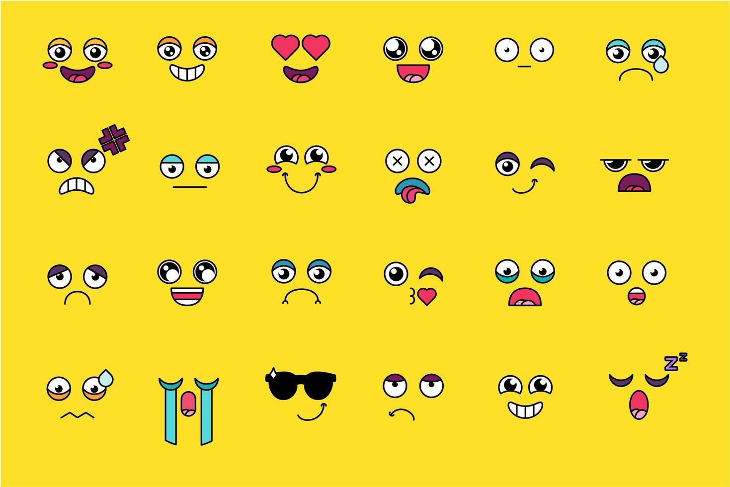 Conjunto de adesivos emoji engraçados e fofos vetor