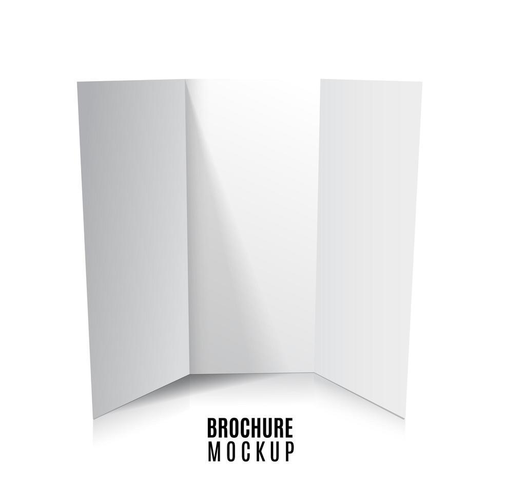 maquete de folheto de papel com três dobras em branco isolada no branco. ilustração vetorial vetor