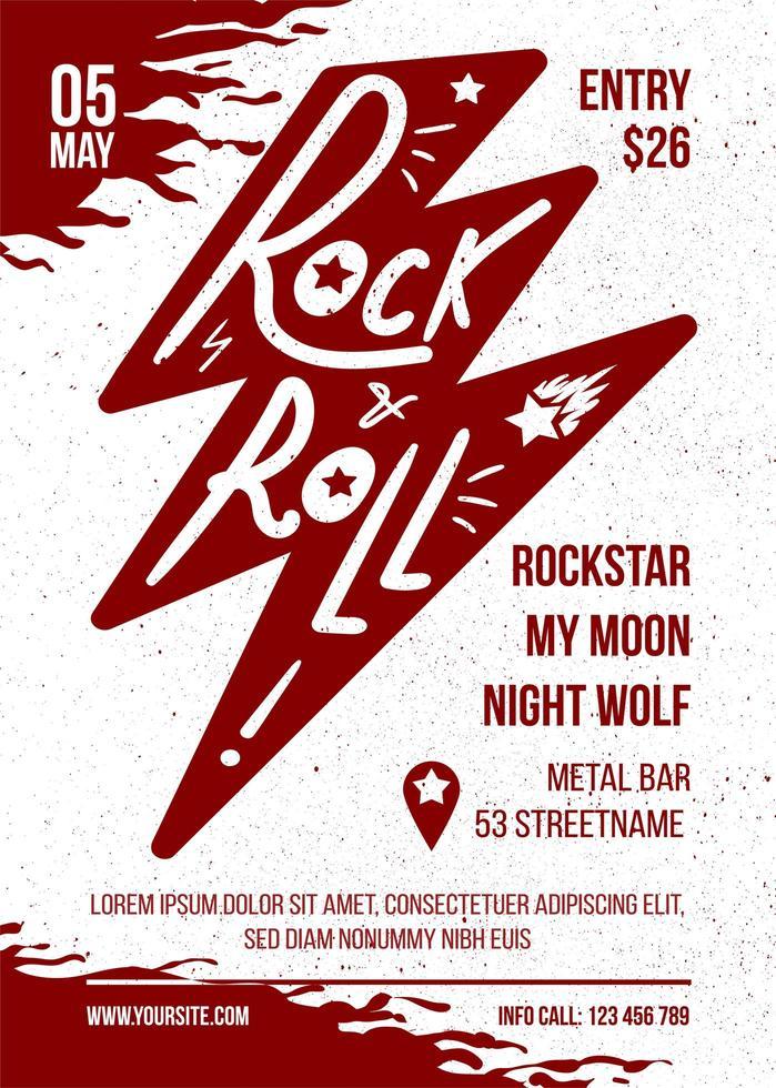 rock and roll vermelho branco vetor música banner design