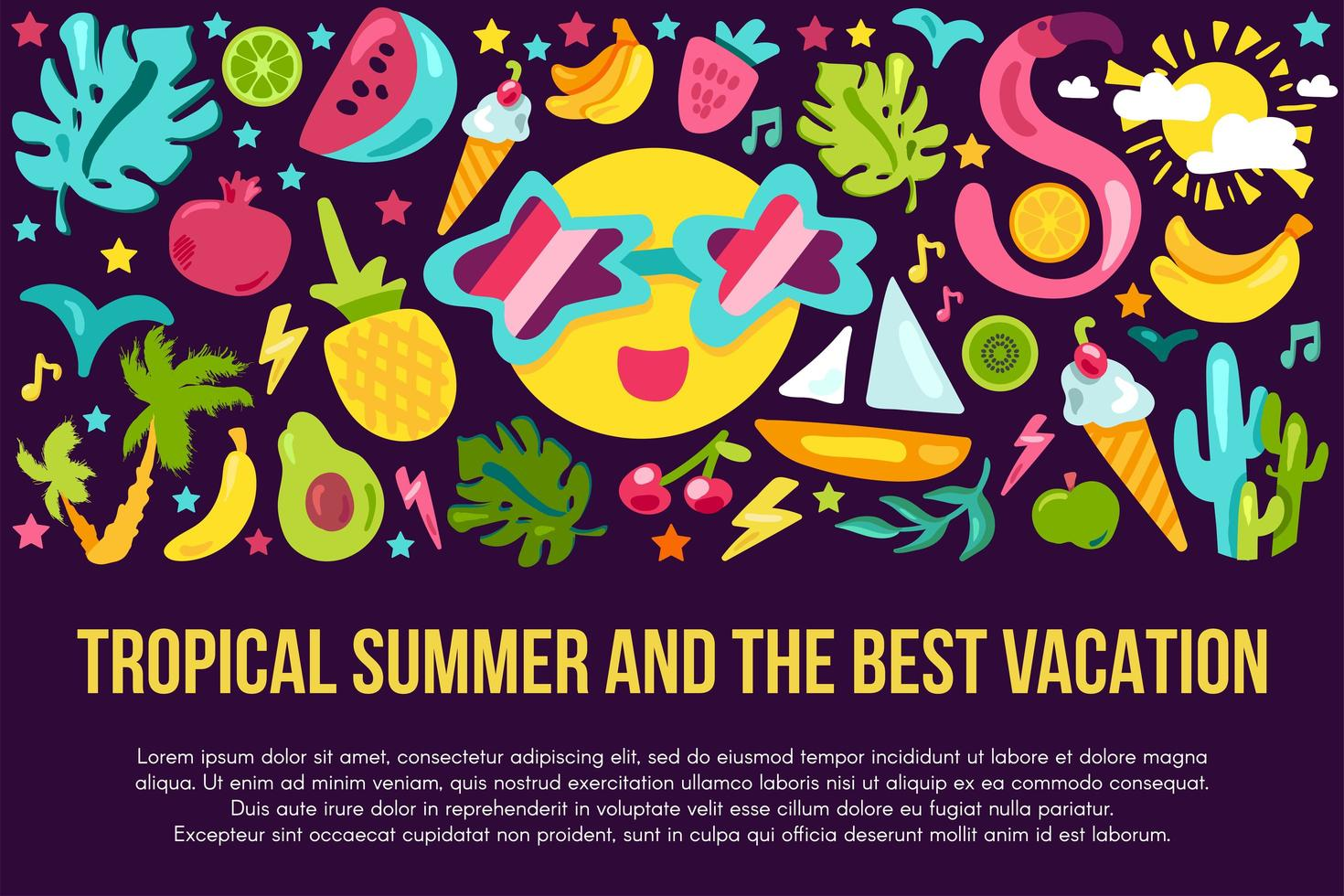 modelo de banner plano de férias de verão vetor