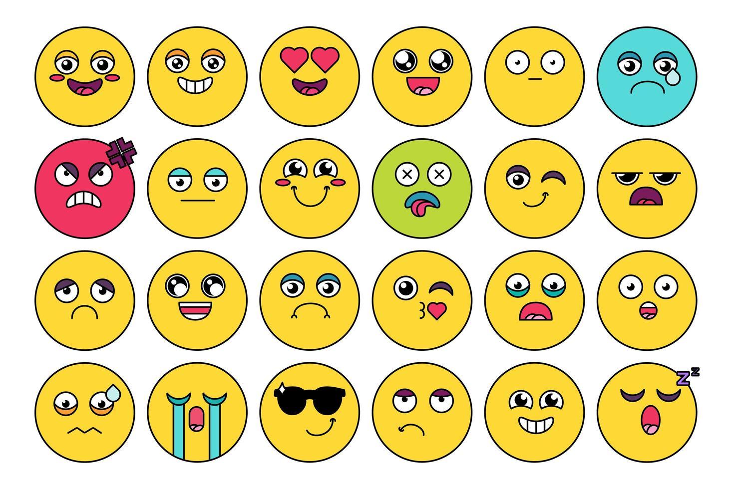 pacote de adesivos emojis fofos e cômicos vetor
