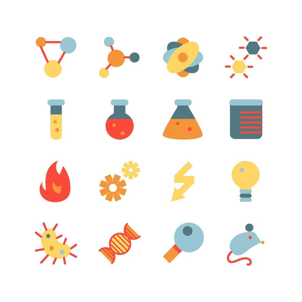 conjunto de ícones planos de pesquisa científica vetor