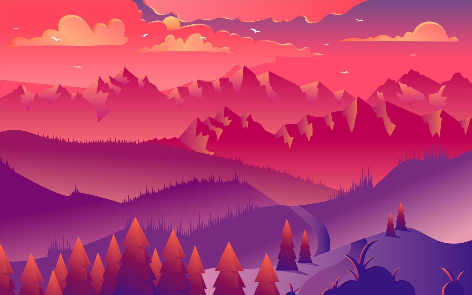 ilustração vetorial minimalista de montanhas pôr do sol vetor