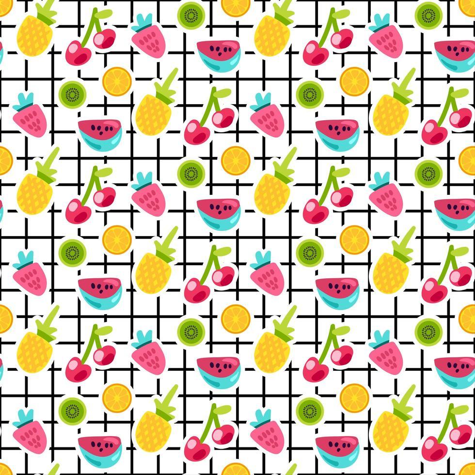 frutas patches padrão de vetor sem emenda