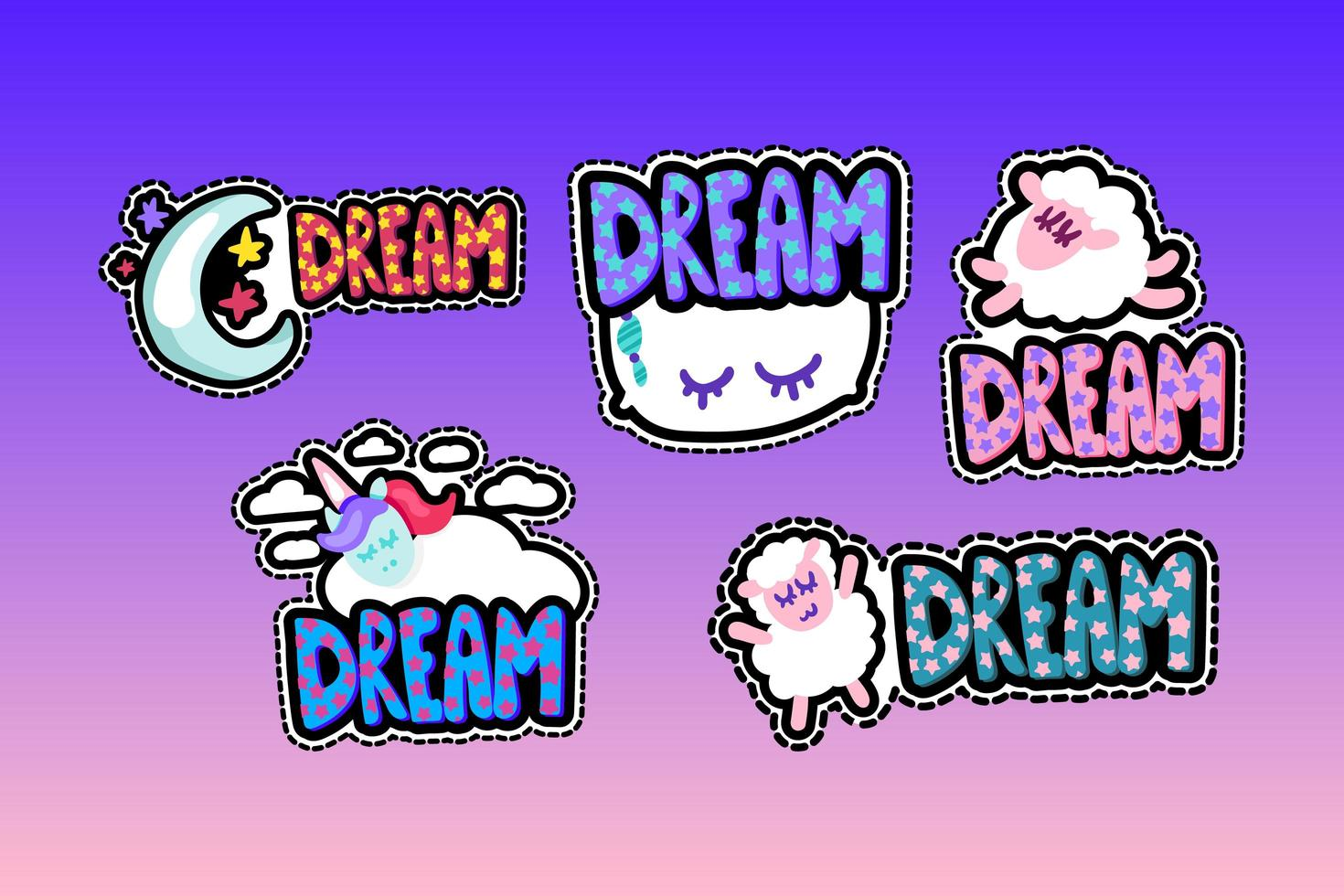conjunto de ilustrações de molduras costuradas de letras dos sonhos vetor