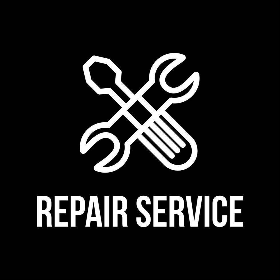 design de logotipo de vetor plano de serviço de reparo