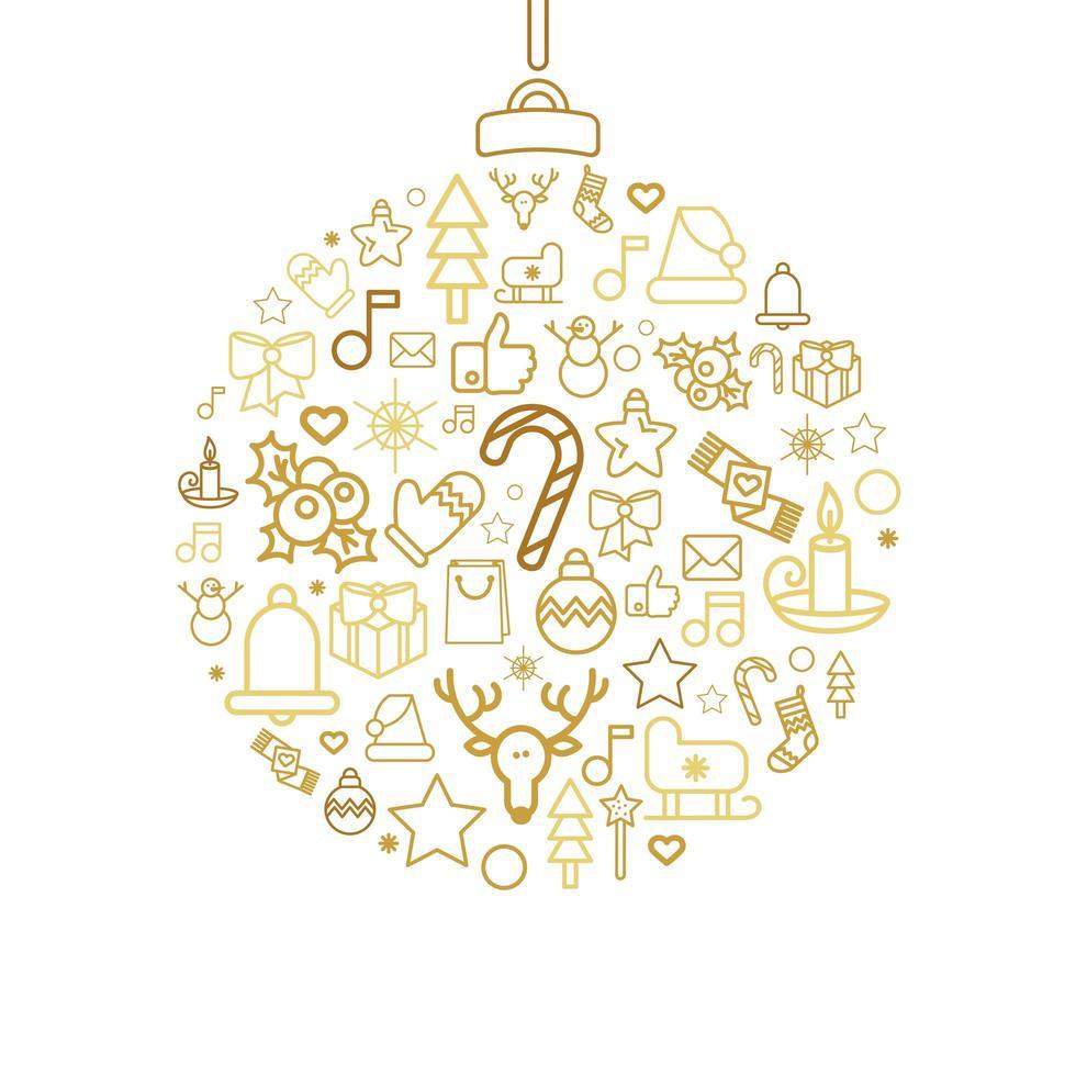 silhueta bugiganga com ícones lineares do feriado de natal vetor